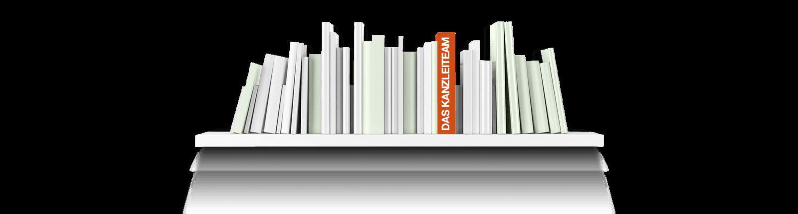 Bild zeigt ein Bücherregal mit einem Buch zum Thema Kanzleiteam