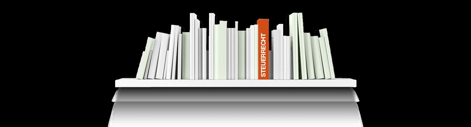 Bild zeigt ein Bücherregal mit einem Buch zum Thema Steuerrecht